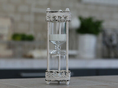 Hourglass Egg Timer 5 Min Cream Shabby Chic Vintage Style Cooking Kitchen Gift