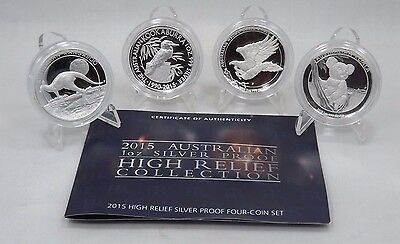 2015 Australia $1 1oz Silver High Relief Proof Coins -Set of 4 Coins W/Box(T915)