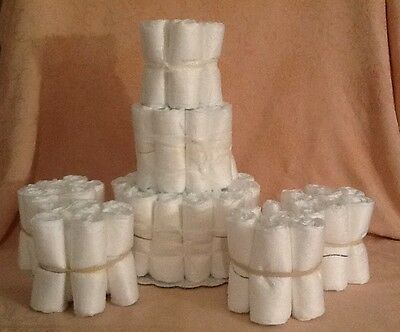 3 Tier Diaper Cake W/4 Mini's Undecorated Plain Baby Shower Centerpiece
