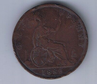 1886 Great Britain 1 Penny Coin UK Pence United Kingdom England British