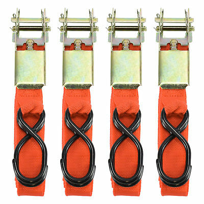 8X HEAVY DUTY RATCHET TIE DOWN CARGO STRAPS 4.6 Metre/1 Inch-15'/25MM ORANGE NEW