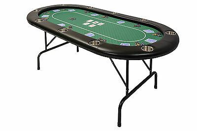 Poker Table Folding Metal Legs and Betting Line in Green Speed Cloth 213 x 106cm