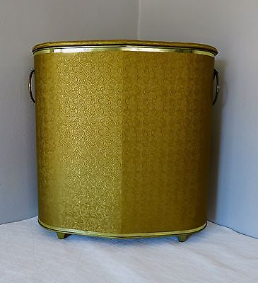 Mid Century Hollywood Regency Gold 1950's Vintage Hamper With Feet Excellent