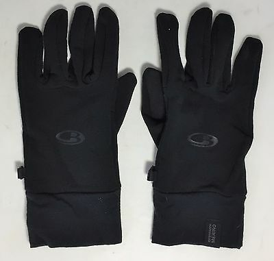 Icebreaker Merino Wool Touch Screen Sensitive Black Gloves Size Large