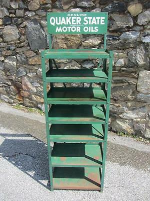 Vintage QUAKER STATE OIL RACK Display Stand GAS/OIL Sign