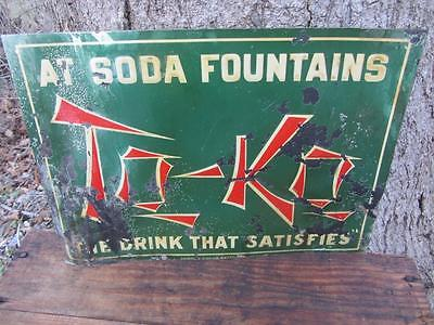 Vintage & Rare #2 TO-KO SODA TIN SIGN HAGERSTOWN MD coca cola pepsi 7up Fountain