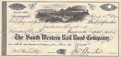 South Western Railroad Company 1880'S 1 Share Stock Certificate Georgia Bond