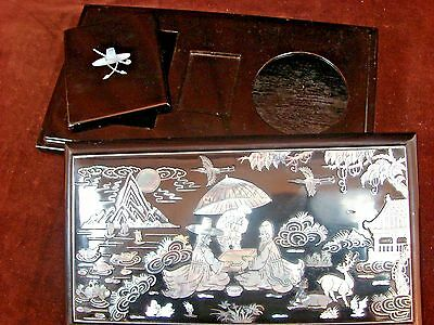 Vintage Asian Art Black Lacquer Mother-of-Pearl Cigarette Smoking Box