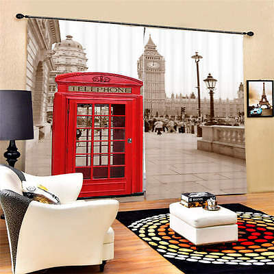 New Red Telephone Box 3D Blockout Photo Printing Curtains Draps Fabric Window
