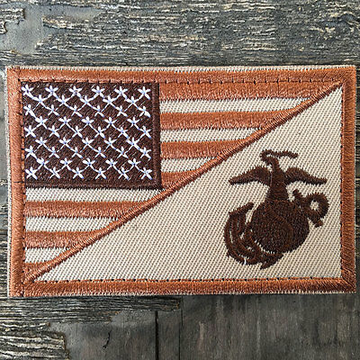 USMC Marine Corps American Flag USA Army Military Tactical Morale Badge Patch