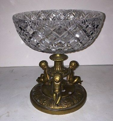 Antique clear cut crystal glass brass cherub compote candy dish table vase
