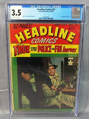 HEADLINE COMICS #37 (Rare Jack Kirby Photo Cover) Golden Age 1949 Prize CGC 3.5