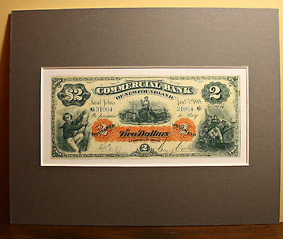 1888 Commercial Bank Of Newfoundland $2.00 Banknote - New Reproduction