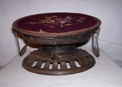 Rare Antique Cast Iron Foot Warmer Petit Point Whale Oil Burner