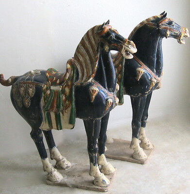"Huge 39"" Tall Pair Antique Ceramic Chinese Tang War Horses"