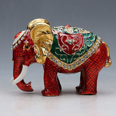 Chinese Collectable Cloisonne Inlaid Rhinestone Handwork Elephant Statue G036