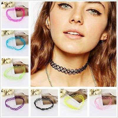 90s Tattoo Choker Stretch Necklace Multi Color Cord Retro Elastic Boho Gothic