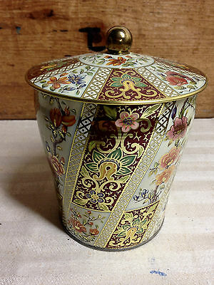 Vintage metal Tole Toleware canister floral with gold accents candy tin