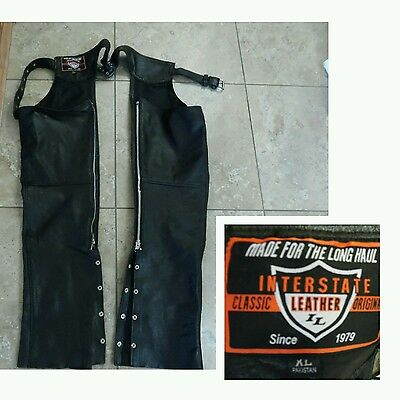 Mens BLACK LEATHER CHAPS Interstate Leather Classic Originals Adjustable Sx XL