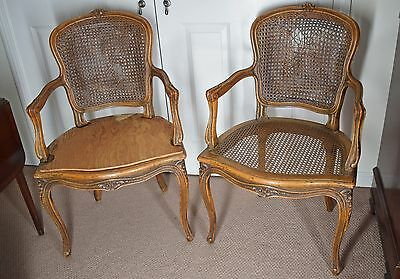 Antique 19th C. French Louis XV Style Cane Arm Chair -- Needs Reupholstery PAIR