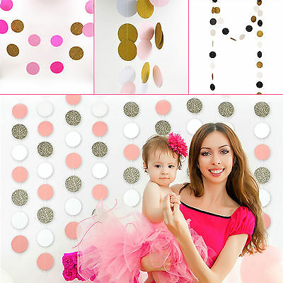 5cm*2m Paper Round Circle String Bling Gold Bunting Hanging Party Decoration