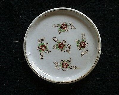 Vintage Red Floral/Leaves Transfer Design Decorated Porcelain Butter Pat  Japan