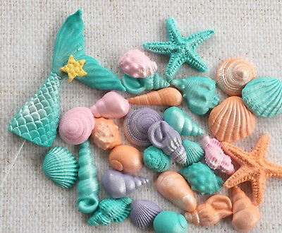 Sea Shells Fish Tail Mermaid Tail BEACH party Cake/Cupcake Toppers Mix Colors