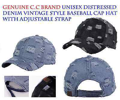 C.C Brand Unisex Distressed Denim Vintage Style Adjustable Baseball Cap Hat
