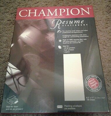 "Champion Resume Stationery Paper 8.5"" x 11"" Soft White Writing 100"
