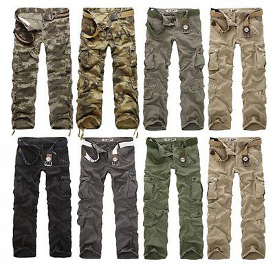 Mens Combat Cargo Trousers ARMY Military Camouflage Camo Cargo Pants 34 36 38