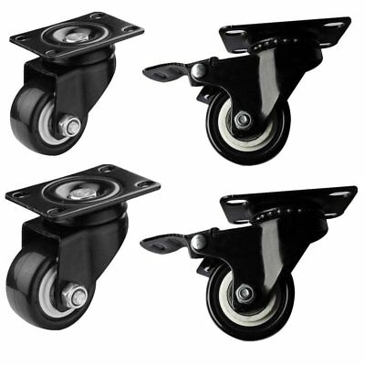 Heavy Duty Steel 50kg Casters Castor Rubber Swivel Lock Brake Wheels 4PCS/Pack