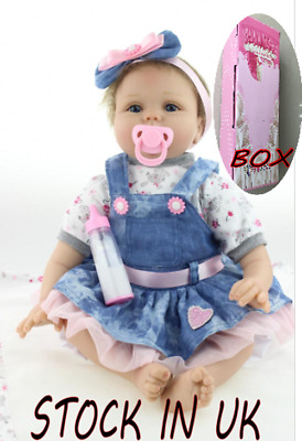 "22 ""Lifelike Real Life Reborn Baby Doll Soft Vinyl Girl Muñecas Realistic Gift"