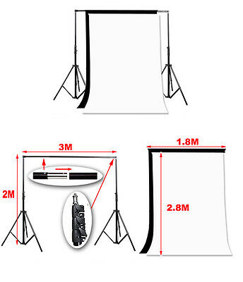 Black White Muslin Cotton Backdrop Pro Photo Studio Background Support Stand Kit