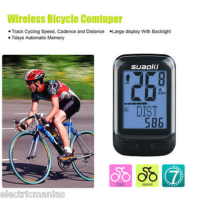 Wireless Cycling Bike Bicycle Computer Cadence Sensor Odometer Speed Temperature