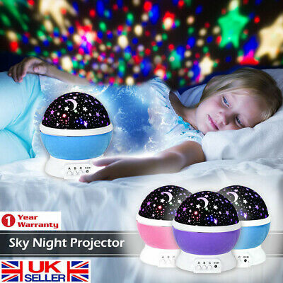 Kids Children LED Rotating Projector Starry Night Lamp Star Sky Projection Light