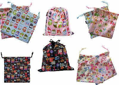 Kids Children's Small Drawstring Water Resistant Wash Bag Owl Monsters Butterfly