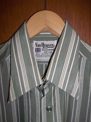 MINT 70's vintage Van Heusen dagger collar stripe button down Shirt SZ L 100 cm