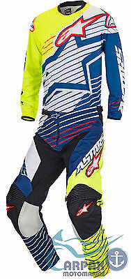 Completo Alpinestars Cross Racer Braap 2017 Yellow Fluo White Dark Blue