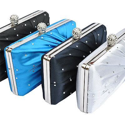 Satin Cystal Hardcase Clutch Evening Bag Silver Navy Nude Black Blue Ivory New