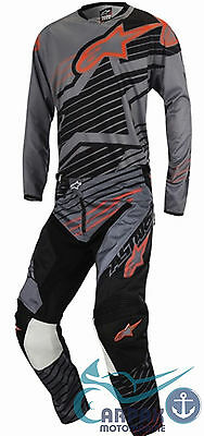 Completo Alpinestars Cross Racer Braap 2017 Dark Gray Black Orange Fluo