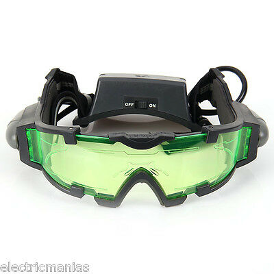 Adjustable LED Night Vision Glass Goggles with Filp-out Lights Hunting Windproof