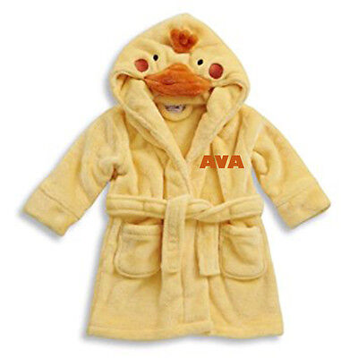 Embroidered Personalised Soft Baby Novelty Cute Duck Dressing Gown Bath Robe
