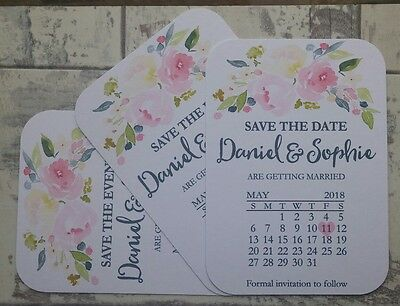 50 x Personalised Save The Date/Evening Calendar Cards+Envelopes Magnetic.FLSD1