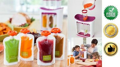 Reusable Food Pouch Squeeze Pouches 50pc + Squeeze Baby Station Infantino *Set*