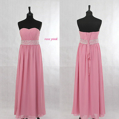 Rose Pink Chiffon Beaded Evening Ball Gown Party Prom Bridesmaid Dress SZ 6-22