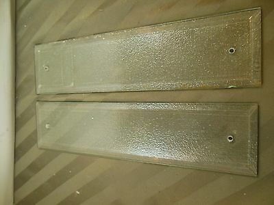 """Vintage Pair Clear Beveled Glass Door Push Plates . 3"""" x 12"""""""