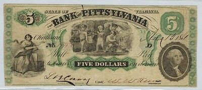 1861 Virginia BANK OF PITTSYLVANIA $5 Obsolete Bank Note, Civil War Era