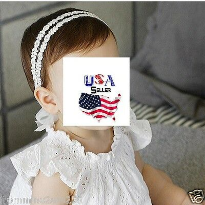 Baby Toddler Girls Kids Lace Flower Pearl Rhinestone Headband Bow Hairband