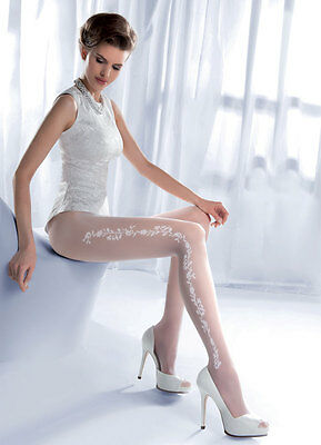 Women's Gorgeous Bridal Sheer Tights, Patterned White Pantyhose, Gabriella Charm