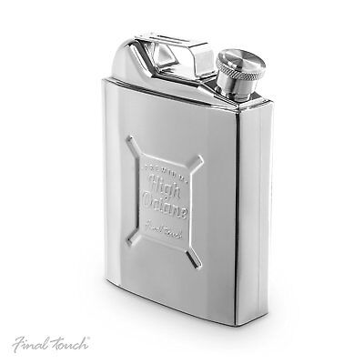 Final Touch Gas Can Drinking Hip Flask with Cap Holds 265ml 9oz StainlessSteel